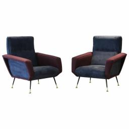 Pair of 1950s Italian armchairs recently reupholstered