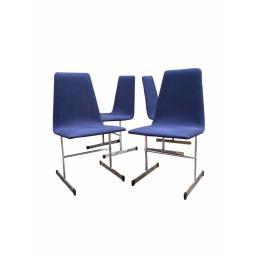 4 Mid Century Tim Bates Pieff Lisse Chrome Modernist Dining Chairs