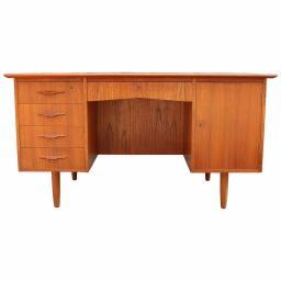 1960's Danish teak cross banded desk with a bookcase back