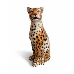 Large Italian hand painted ceramic leopard