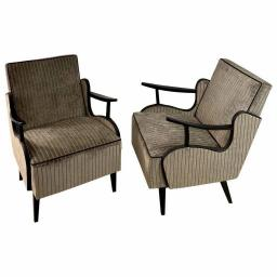 Pair of rare 1960s Czech Armchairs in silver corduroy