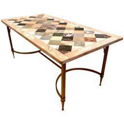 1970's Vintage French Maison Jansen Marble top Coffee Table brass base