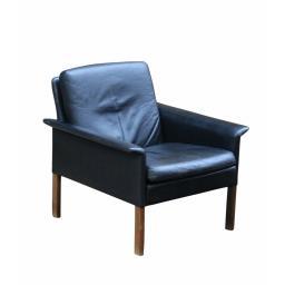Mid Century Hans Olsen Danish Armchair Rosewood Black Leather