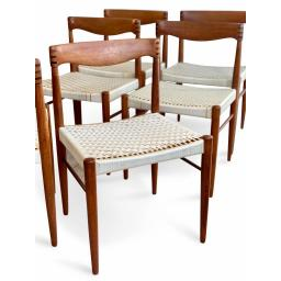 Set of 8 Teak Wood Dining Chairs by H.W Klein for Bramin