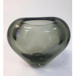 1960s Per Lütken smoked heart shaped glass vase by Holmegaard of Denmark