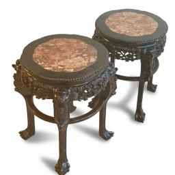 Pair of 19th century antique Chinese carved side tables with marble insert tops