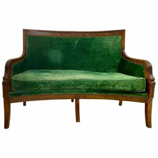 French Empire sofa mahogany carved arms green original velvet