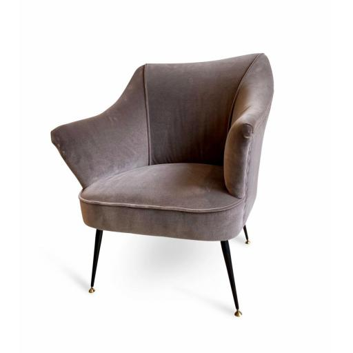 1950s Italian Armchair Grey Velvet in the Manner of Gio Ponti