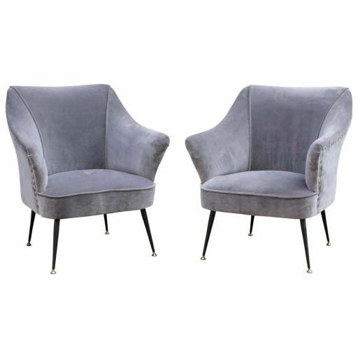 Pair of 1950's Italian armchairs Gio Ponti in light grey velvet