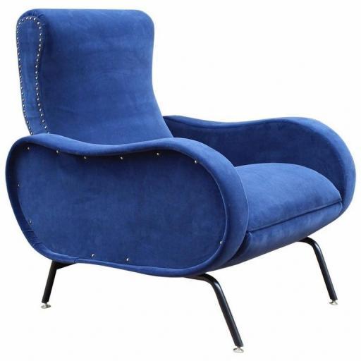 Rare Marco Zanuso reclining armchair upholstered in blue velvet