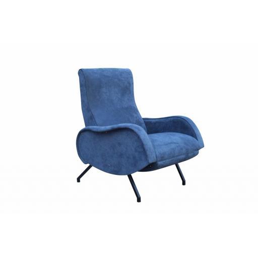 Rare Marco Zanuso reclining armchair in blue alcantara