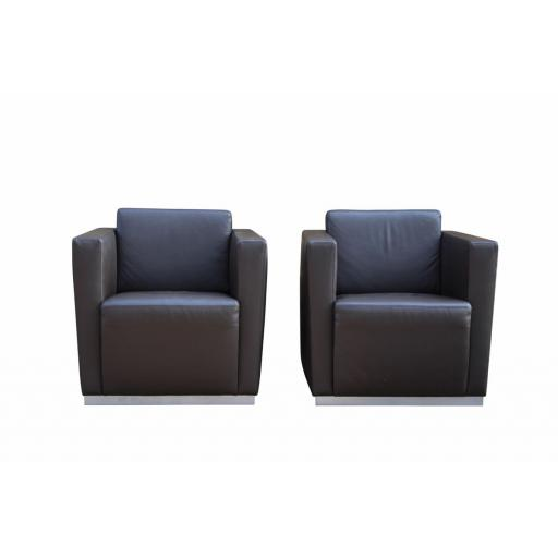 Walter Knoll Pair of Armchairs 'Elton' dark brown leather