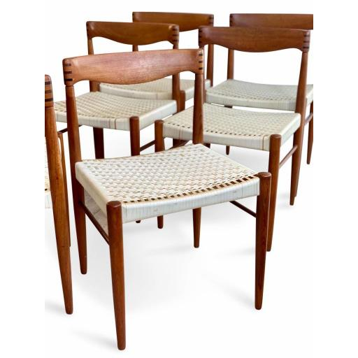 Set of 8 Teak Wood Dining Chairs by H.W Klein for Bramin - SOLD