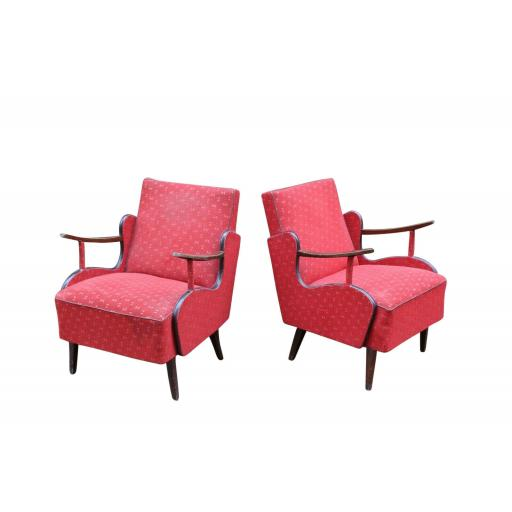 Pair of rare 1960s Armchairs Vintage Red