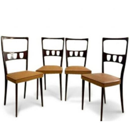 Set of Four 1950s Italian dining chairs