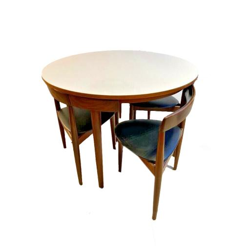 Mid 20th Century Danish Four Chair Dining Set 'Roundette' Hans Olsen For Frem Røjle
