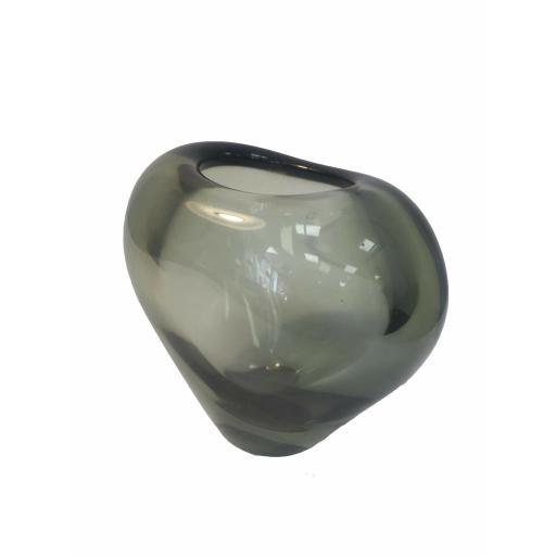 1960s Per Lutken smoked heart shaped glass vase by Holmegaard of Denmark