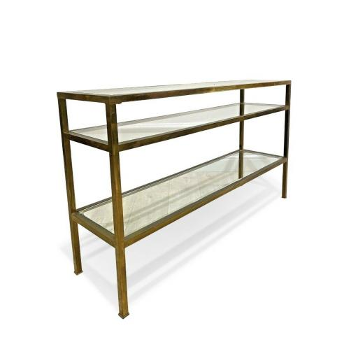 Vintage brass and glass console table