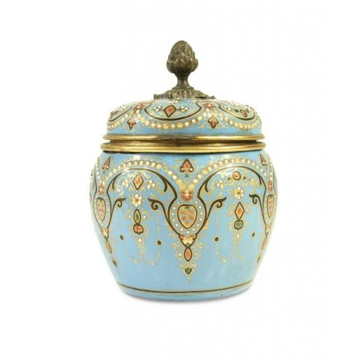 A 19th century French Jewelled turquoise enamel jar scent bottles perfume