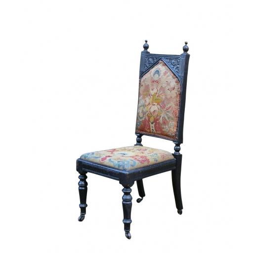 Gothic Revival Antique Oak Chair Tapestry