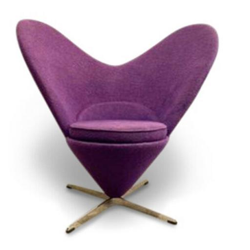 Verner panton style heart cone chair purple fabric aluminium base