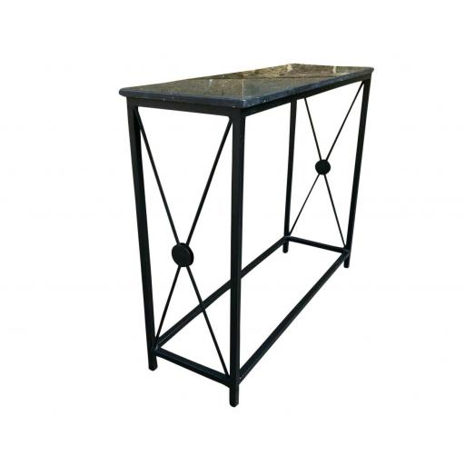 Marble Topped Console Table Wrought Iron Hall - SOLD