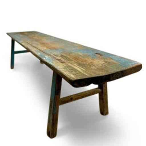 Antique Chinese distressed blue patina low table