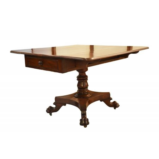 Drop leaf victorian oak claw and ball foot dining table / sofa table