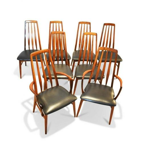 "Set of 8 1960s Rosewood ""Eva"" Niels Koefoed Dining Chairs for Koefoed Hornslet"