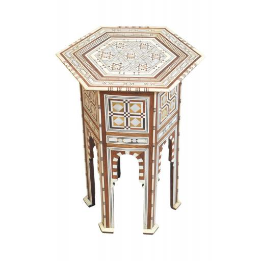 Islamic hexagonal occasional table with mother of pearl inlay