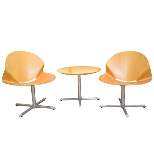 Mid 20th century bent ply wood bistro table and chair set