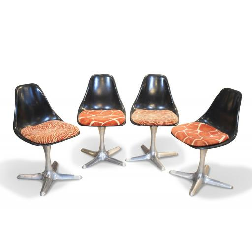 Set of 4 mid 20th century Arkana dining chairs aluminium swivel base