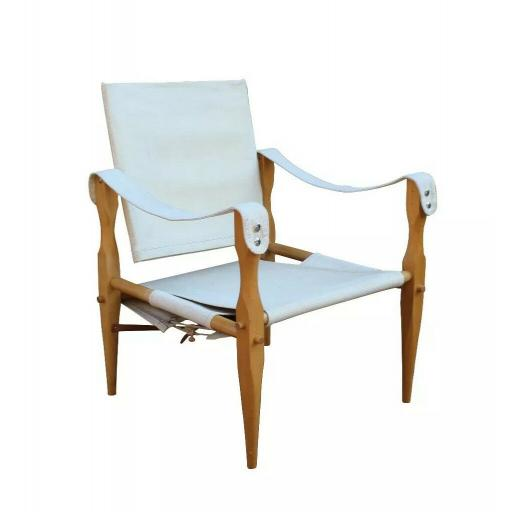 1960's 'Safari' chair Wilhelm Kienzle canvas seat & back with a beech frame