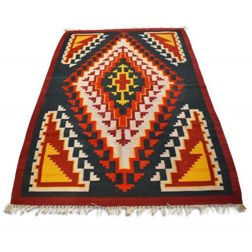 Vintage handwoven kilim rug / runner natural dye geometric print