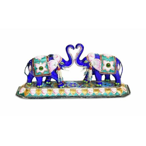 Vintage Enamel Indian silver elephant figurine