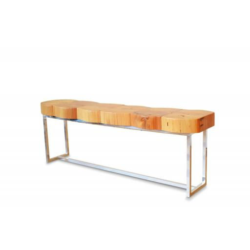 Italian 1950s fruit wood bench with chrome base - SOLD