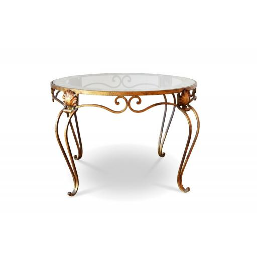 1920s French brass and glass coffee table circular