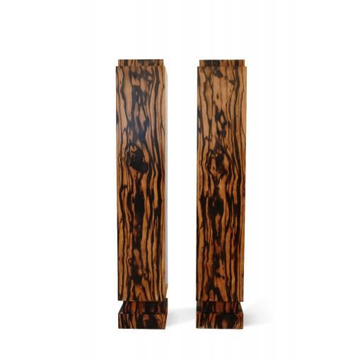 A pair of 1930's Art Deco Calamander wood veneered plinths stands / columns