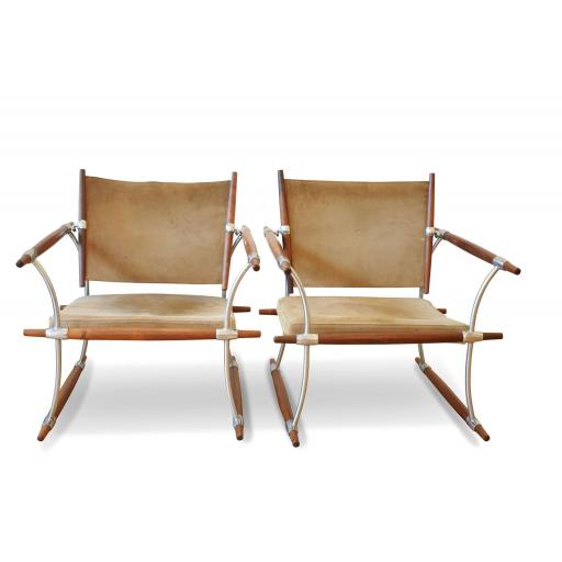 """Pair of """"Stokke"""" Lounge Chairs in Suede and Rosewood by Jens Quistgaard"""