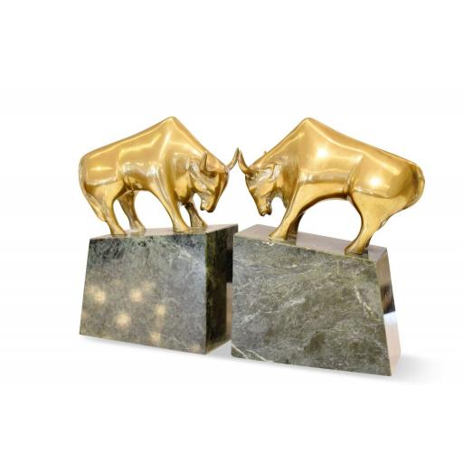 Pair of Italian 1950's bookends marble and bronze bulls