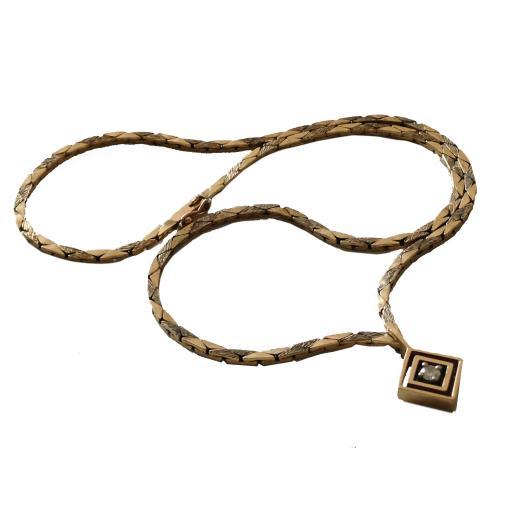 9ct 375 Gold 0.17 Carat Diamond Geometric Necklace