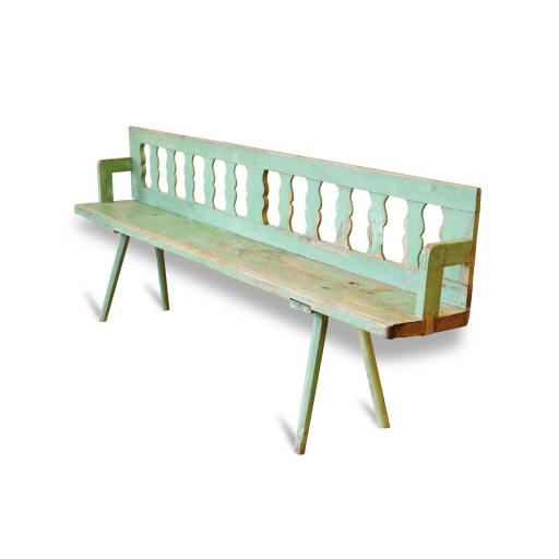 Vintage Swedish wooden bench with distressed paint finish