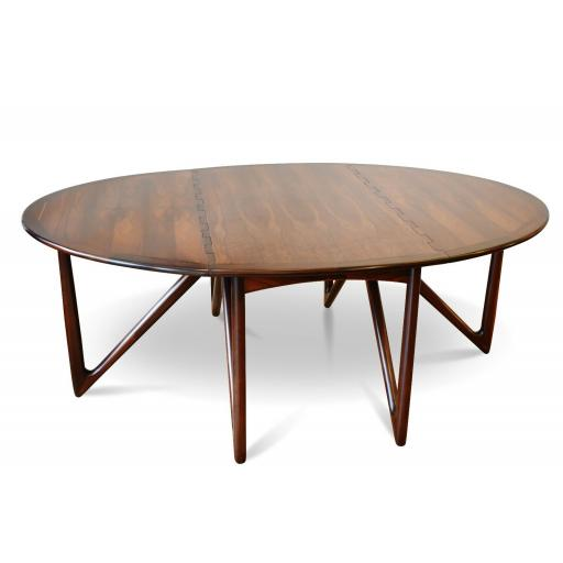 Niels Koefoed Gateleg Rosewood Dining Table for Koefoeds Møbelfabrik