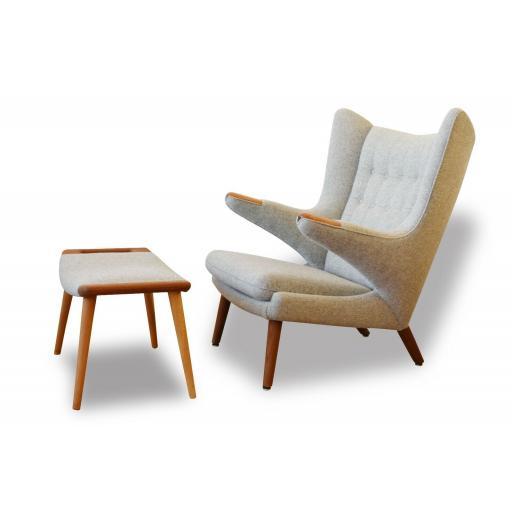 Hans Wegner Vintage Oak Papa Bear Chair & Ottoman, 1950s