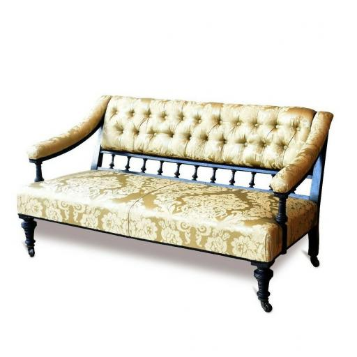 Antique Asthetic movement two seater sofa in Damask printed silk