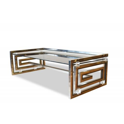 1970s Romeo Rega Modernist Greek Key Coffee Table Italian