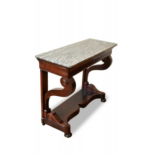 19th Century French Antique Console Table with Green Marble Top