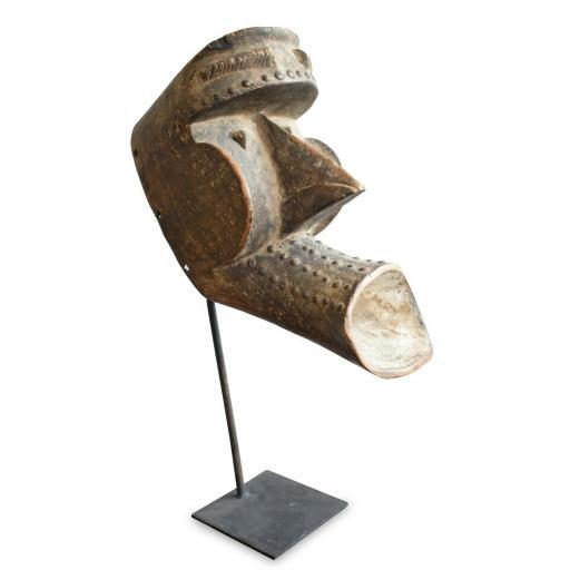 Vintage African Mask Set On Metal Display Stand - SOLD