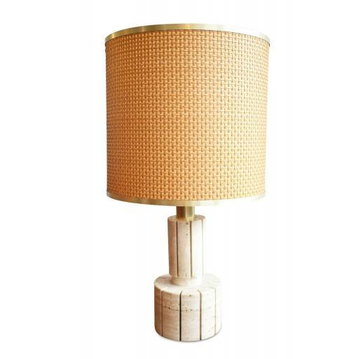 Italian 1970s Bamboo and Travertine Lamp