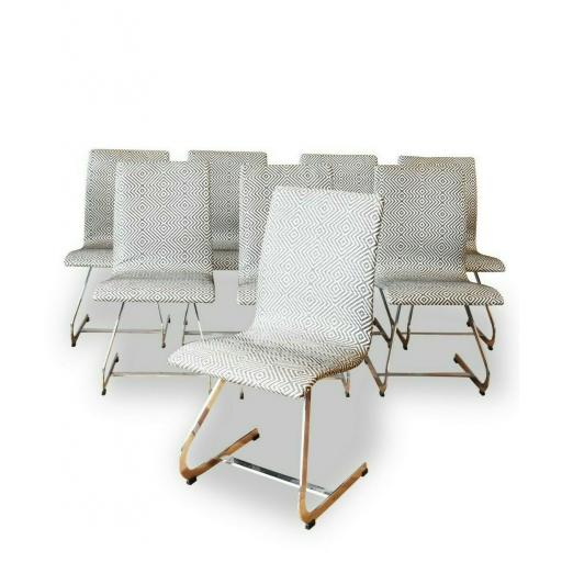 1960s Merrow Associates Set of 8 Dining Chairs with Geometric Upholstery